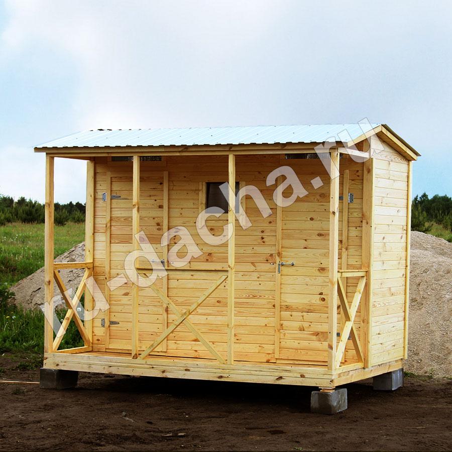 Туалет-Душ-Раздевалка с верандой и двускатной крышей