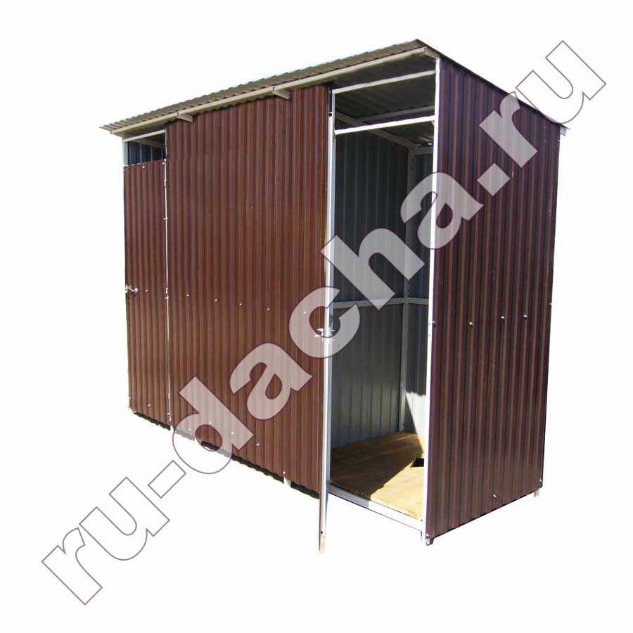 Туалет с хозблоком 2 в 1 из металлопрофиля (3х1м)