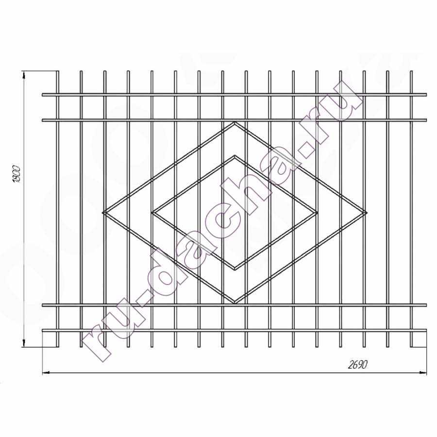 забор металлический секционный М-2