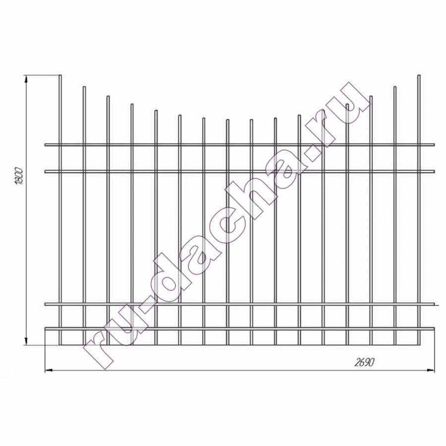забор металлический секционный М-4