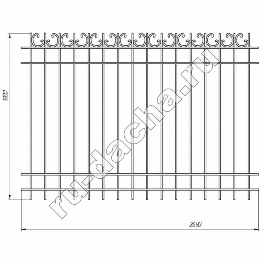 забор металлический секционный М-7